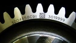 Zahnrad aus Metall mit dem Laser graviert