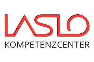 Ansicht des rot-weissen Logos der Laslo GmbH